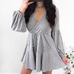 ❤️SALE❤️ Soft & cozy gray wrap sweater mini dress